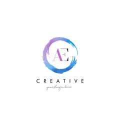 ae letter logo circular purple splash brush vector image