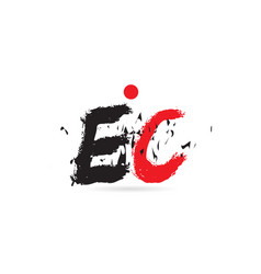 alphabet letter combination ec e c with grunge vector image