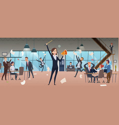 Angry female boss deadline corporate processes vector