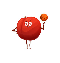 Apple healthy fruit food playing basketball sport vector