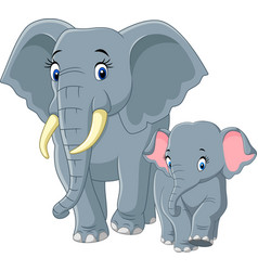 baby and mother elephant vector image