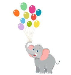 baby elephant with balloons vector image