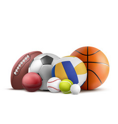 Balls for soccer rugby baseball and other sports vector