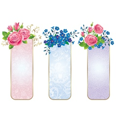 Banners of flowers roses and forget me not vector