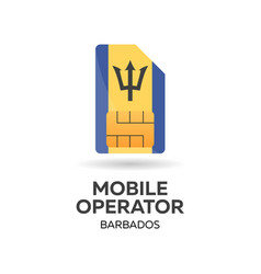 barbados mobile operator sim card with flag vector image