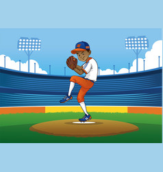Baseball pitcher ready to throwing the ball vector