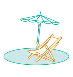 beach umbrella with chair vector image