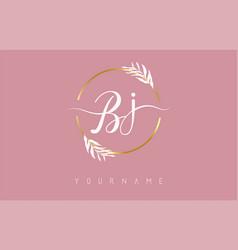 Bj b j letters logo design with golden circle vector