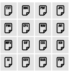 black file type icon set vector image