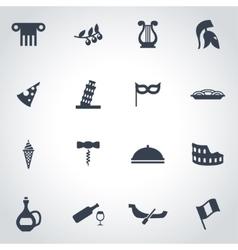 black italian icon set vector image
