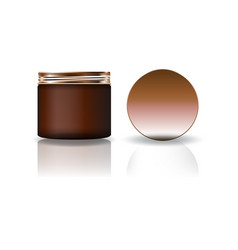 Blank brown cosmetic round jar with copper lid vector