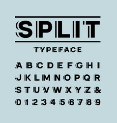 Bold font alphabet with split effect letters and vector