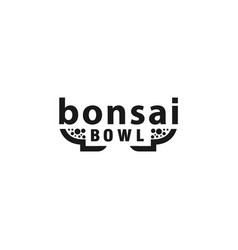 bonsai pot lettering logo concept tree vector image