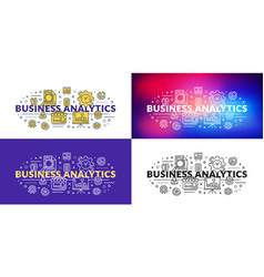 business analytics flat line concept for web vector image