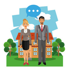 Business couple on real estate vector