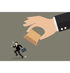 Businessman running away from cardboard box vector image