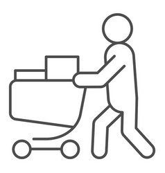 Buyer with full cart thin line icon person with a vector