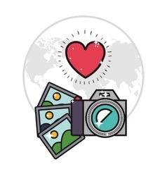 Camera and photographs icon image vector