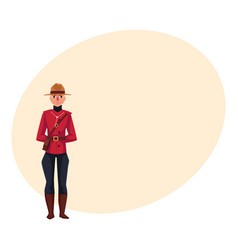 Canadian policeman in traditional uniform scarlet vector