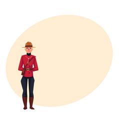 Canadian policeman in traditional uniform scarlet vector