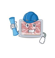 Cartoon character frozen smoked bacon brainy vector