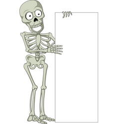 Cartoon skeleton with blank sign vector