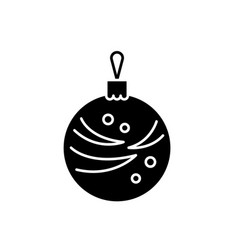 christmas winter ball black icon sign on vector image