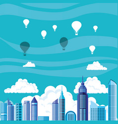 Cityscape with buildings and balloons air hot vector