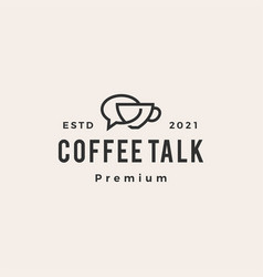 Coffee talk chat bubble hipster vintage logo icon vector
