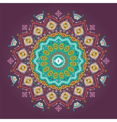 Colorful round geometric pattern in aztec style vector