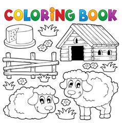 coloring book sheep theme 1 vector image