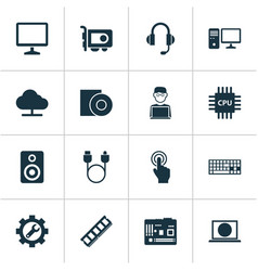 Computer icons set includes icons such as tree vector