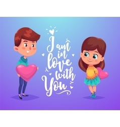 Couple with hears cute vector image