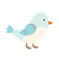 Cute blue bird cartoon animal character vector image