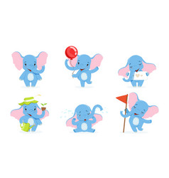 cute elephant cartoon character collection vector image