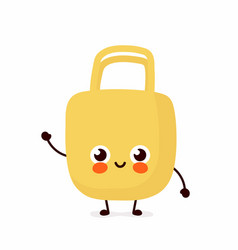 cute happy smiling eco bag character vector image