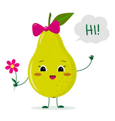 Cute pear green cartoon character with a pink bow vector