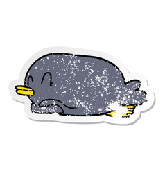 Distressed sticker of a penguin lying on belly vector