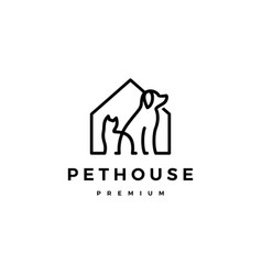 Dog cat pet house home logo icon line art outline vector