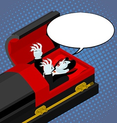 Dracula in coffin pop art style bubble for text vector