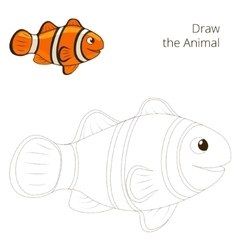 Draw fish animal clownfish educational game vector