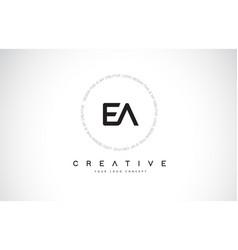 Ea e a logo design with black and white creative vector