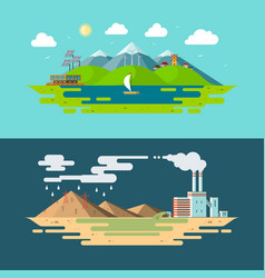 ecology concept in flat design style vector image
