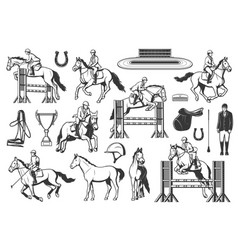 equestrian sport horse racing and jumping vector image