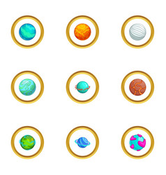 Fantasy colorful planet icons set cartoon style vector