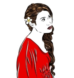 fashion sketch girl in red vector image