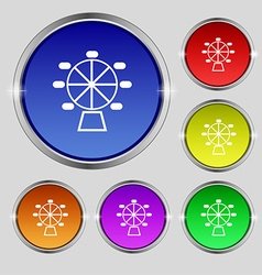 Ferris wheel icon sign Round symbol on bright vector