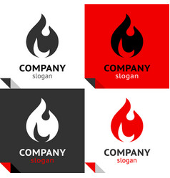 fire flames new set four variants for your logo vector image
