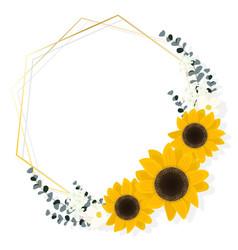 flat style sunflower eucalyptus with golden frame vector image