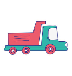 full color dump truck industry and contruccion vector image